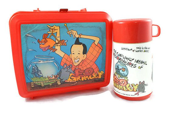 1988 Ed Grimley Red Plastic Lunch Box with Thermos by PastTastic