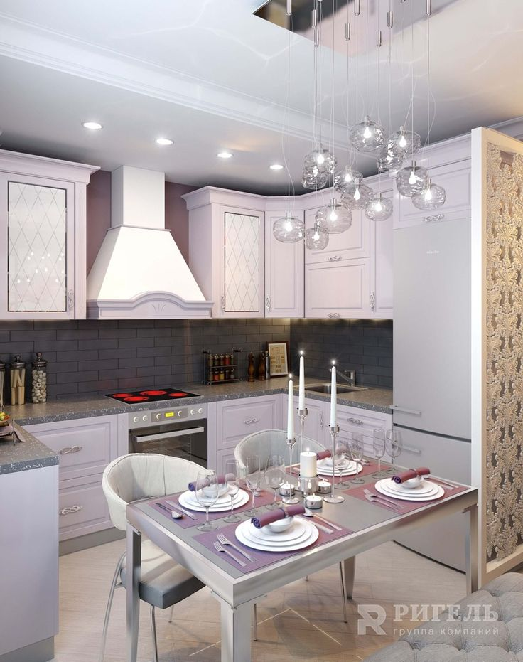 Кухня. Дизайн-проект квартиры в стиле Неоклассицизма от #rigelgroup. Площадь: 67,8 м2  Что хотел заказчик: Создать элегантный интерьер. Сделать его удобным для повседневной жизни, легким в уходе. При этом архитекторы и дизайнеры «Ригель» были предупреждены, что перепланировка должна быть минимальной.  Результат проекта: Лейтмотив – мягкий оттенок пыльной розы. Благодаря ему мебель в комнатах выглядит роскошно.Для этой квартиры мы выбрали стиль неоклассицизма.Так как заказчикам хотелось…
