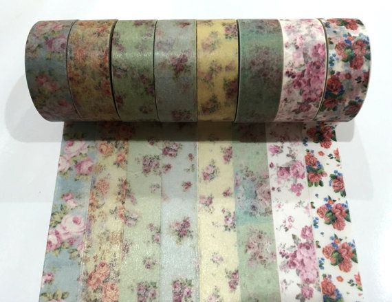 Japanese Washi Tape, Vintage Floral Flower 8 Designs to Choose From 10 METRES