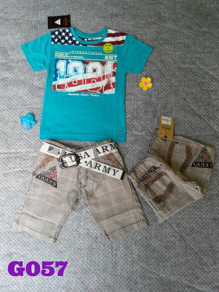 T-shirt Guess 1981 boyset (glow in the dark), jeans, belt (G057) Biru || Size 3-5 tahun || IDR 137.000