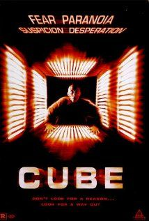 Cube.  Do not confuse with any remakes.  This movie will keep you on the edge of your seat.