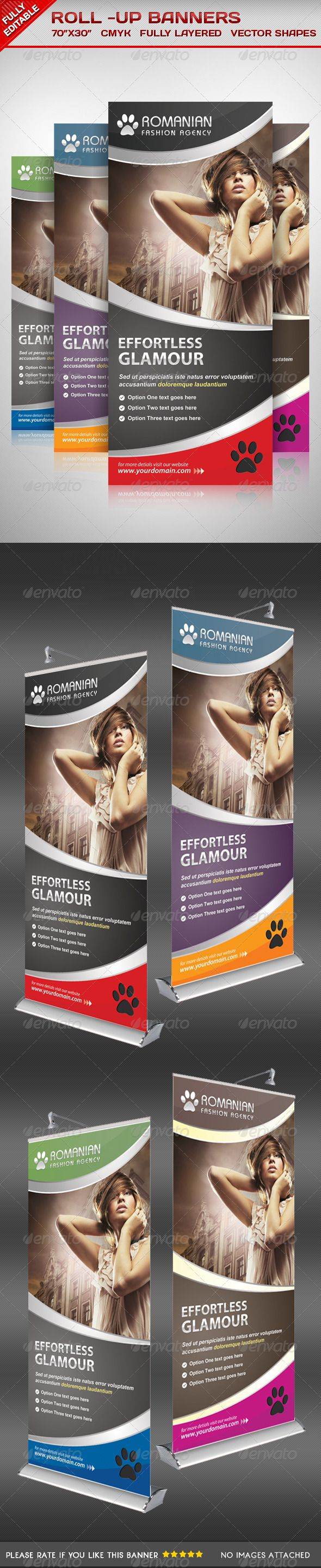 Multiporpose Glamorous Roll Up Banners - Signage Print Templates