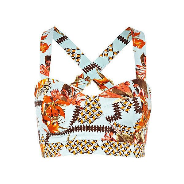 blue tropical print bow back bralet ($36) ❤ liked on Polyvore featuring tops, shirts, crop tops, bralet, bralet tops, blue top, blue shirt, bralette tops and blue crop top