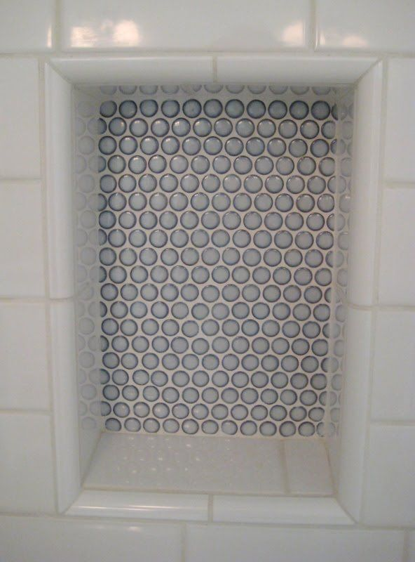 Built In Shower Cubby With Penny Round Feature Wall Inset