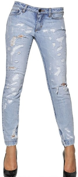 Pretty Destroyed Washed Stretch Jeans - Lyst