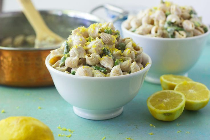 Creamy Lemon Shells with Roasted Asparagus | Made with Banza chickpea pasta