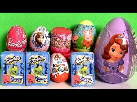 Giant Disney Princess Surprise Eggs Boxes Peppa MonsterHigh Frozen Princess Shopkins Surprise Basket - YouTube