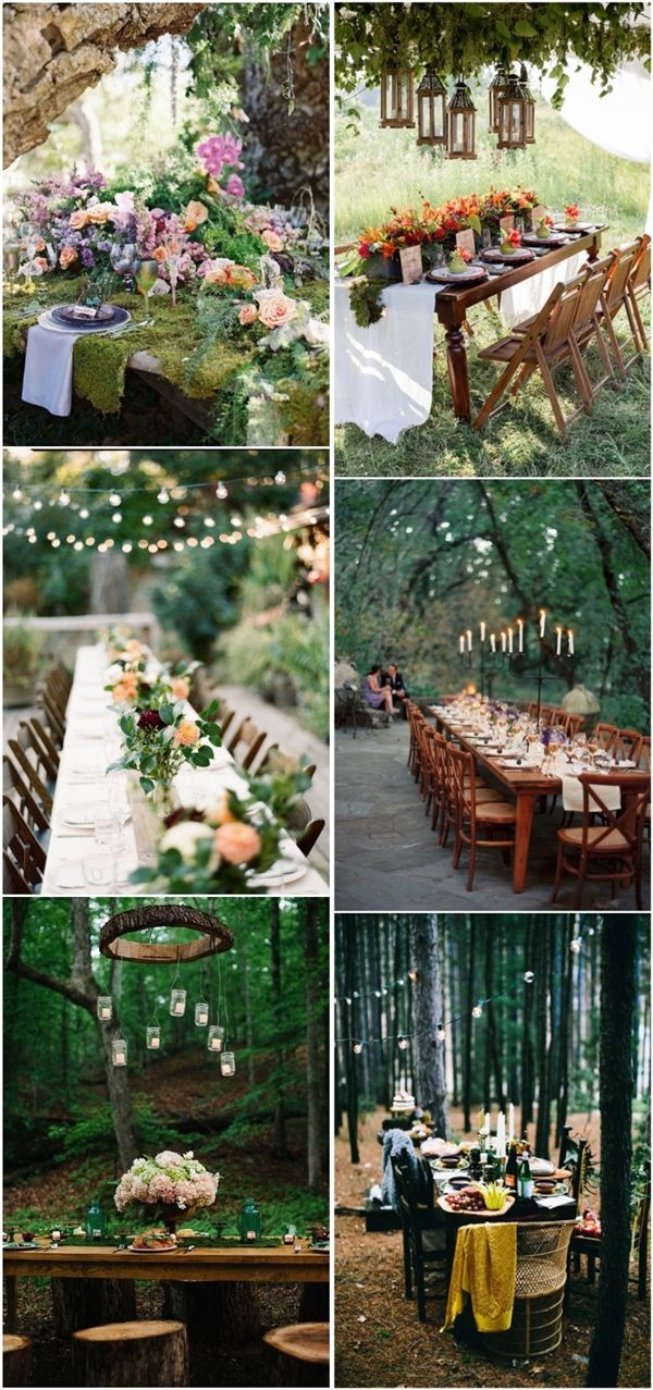 outdoor woodland wedding table decor ideas- forest wedding ideas / http://www.deerpearlflowers.com/woodland-wedding-table-decor-ideas/2/