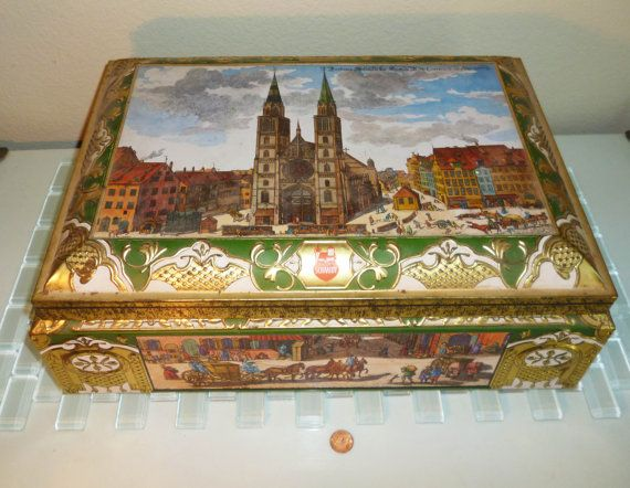 Vintage W Germany Tin Canister Box Renaissance Medieval E