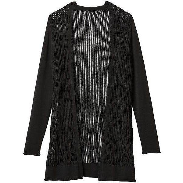 Athleta Women Park Ave Cardigan Sweater Size S ($148) ❤ liked on Polyvore featuring tops, cardigans, black, athleta, cardigan top, double layer top, layering cardigans and layered tops