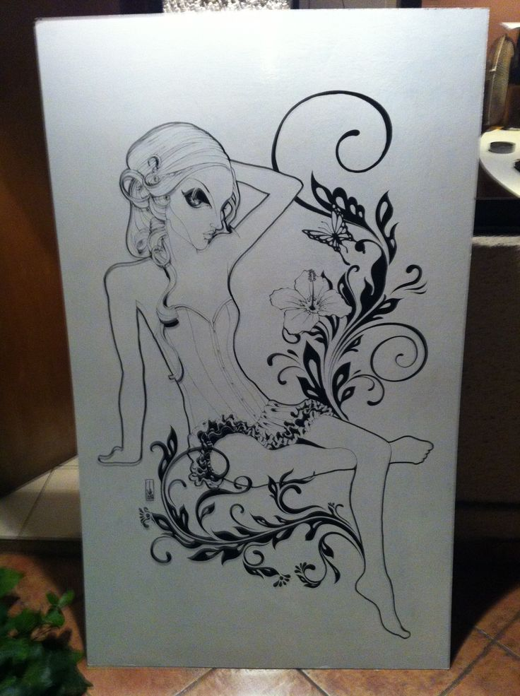 Ilustración Liubliú (Tinta China sobre Madera 90x150 cm).