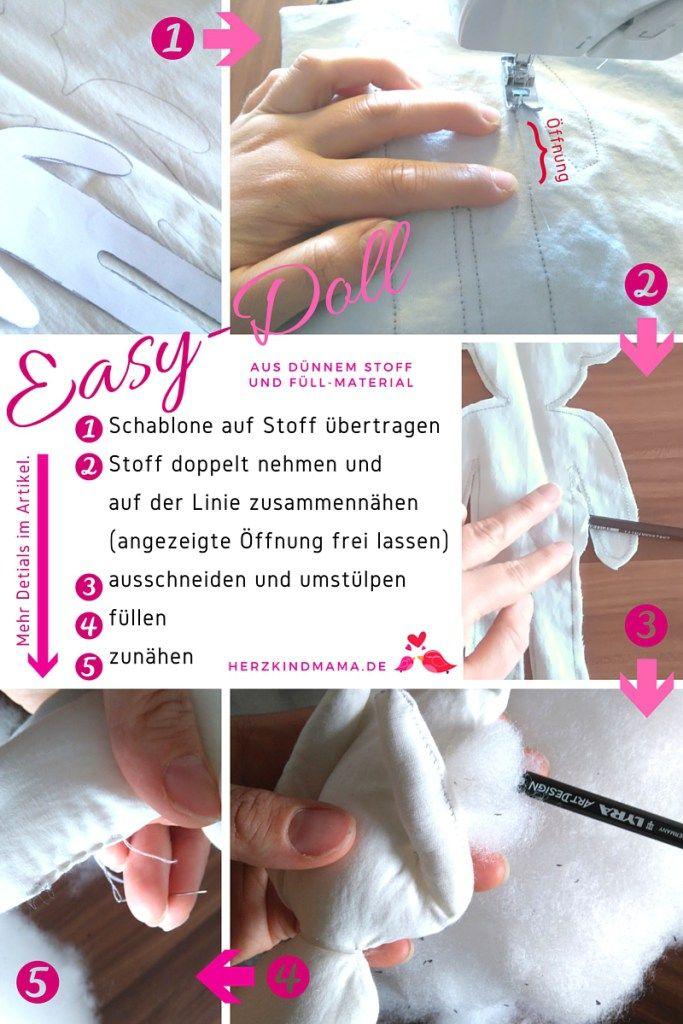 Stoffpuppe DIY selber machen Easy Doll Anleitung