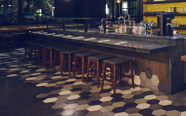 Granada Tile Hexagonal Cement Tiles as seen at Otium Restaurant at The Broad in Los Angeles.