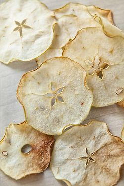 These could be sand dollars too!! These apple slices look appealing with their floral centers where the seeds used to be. Mouth watering, they make me think of fresh apples, the memory of tartness, combined with the crisp sensation of chips.