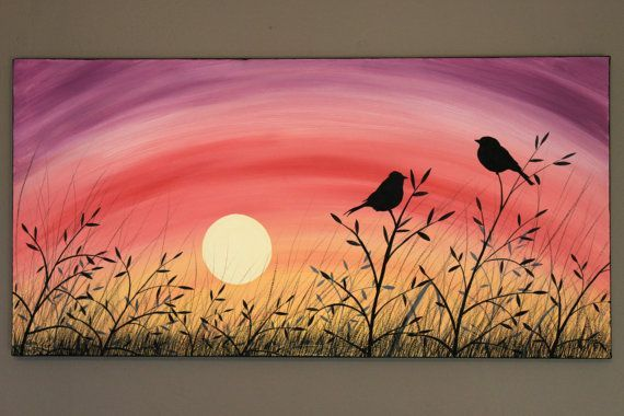 birds on a wire art behind moon - Google Search