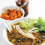 Faux Shark's Fin Soup (Uses Pork and chicken)