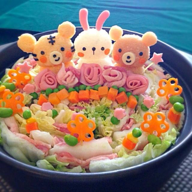 Napa cabbage mille-feuille pot w/ grated radish ~ tiger, bunny, & bear