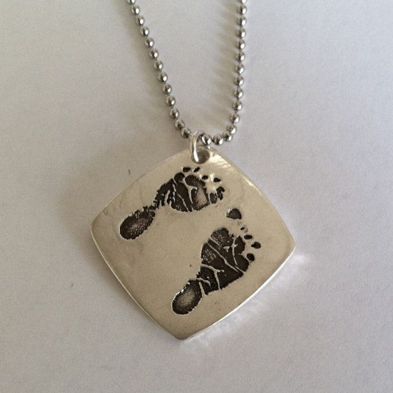 your childs actual footprints or hand printsPrints Stamps, Hands Prints, Footprints Necklaces, Child Footprints, Curves Squares, Actually Footprints, Child Actually, Silver Jewelry, Squares Pendants