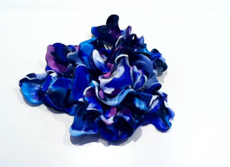 Polymer clay blue flower by Anna Zullian