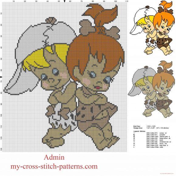 Bamm Bamm Rubble and Pebbles Flintstone from The Flintstones cartoon free cross stitch pattern