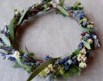 Flower Crown of Lavender Woodland Meadow Flower Crown of Lavender Larkspur Lichens, Moss Ferns, Seeded Eucalyptus, Grasses,  dried flowers -    Edit Listing  - Etsy