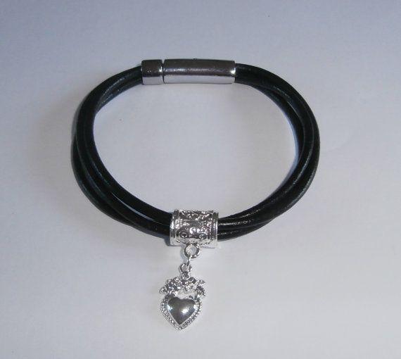 Black Leather Charm Bracelet by WearMyJewellery on Etsy, £5.00