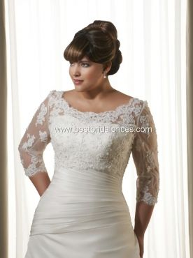 Plus size strapless bridal gowns are usually not recommended for the full figured bride-to-be. Not is all lost though. If you love a strapless gown but it makes your arms look larger then try the gown on with a bridal jacket.   Repin Now!