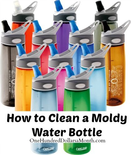 Start by soaking the bottle in warm water with small amnt of bleach. Leave it for a while, then scrub. Rinse.  Put Tb of baking soda in bottle, top with hot water and let sit overnight. Rinse and wash as normal.   Dry in sun/drip dry.