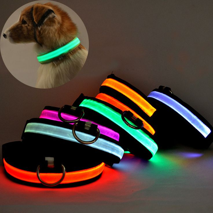 LED USB Rechargeable Nylon Luminous Safety Flashing Pet Dog Collar //Price: $9.95 & FREE Shipping //     #petsupplies
