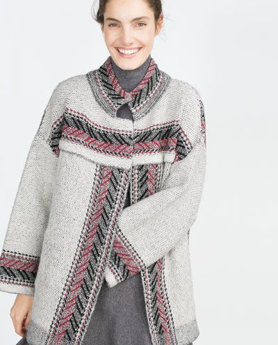 Image 2 of ETHNIC PRINT COAT from Zara