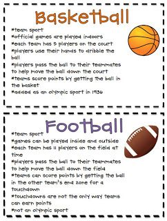 Compare and Contrast sport facts!  Great center activity! Really this can be anything that interests them...great for my slow starters