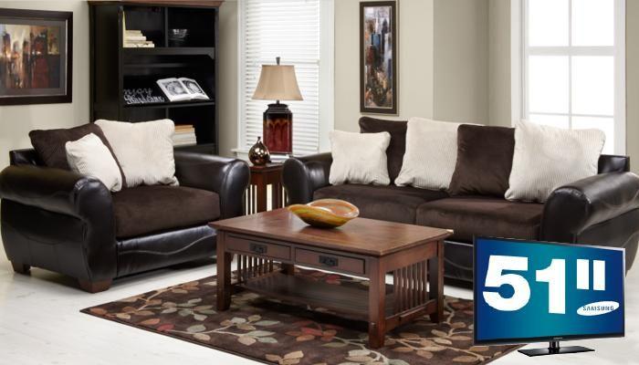 Slumberland Furniture Harrison Collection TV 5 Pc Chocolate Living Room
