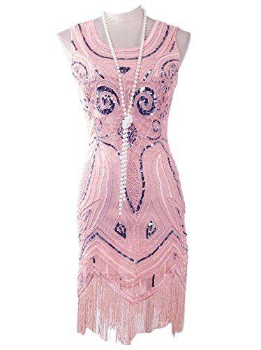 Vijiv Women s 1920 s Vintage Gatsby Bead Sequin Art Nouveau Deco Flapper  Dress  fashion  clothing 4677fe0897e0