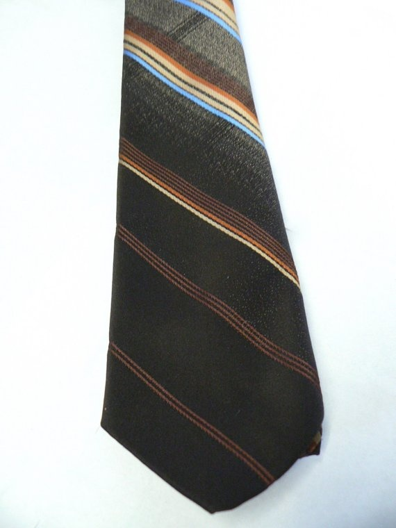 STRIPED Mens Vintage TIE Brown Gold Blue Rust, 1970s Mad Men by curiouskitty, $8.00