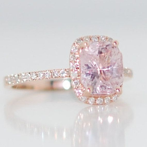 champagne sapphire engagement ring 14k rose gold diamond ring 209ct cushion light lavender peach - Pink Wedding Ring