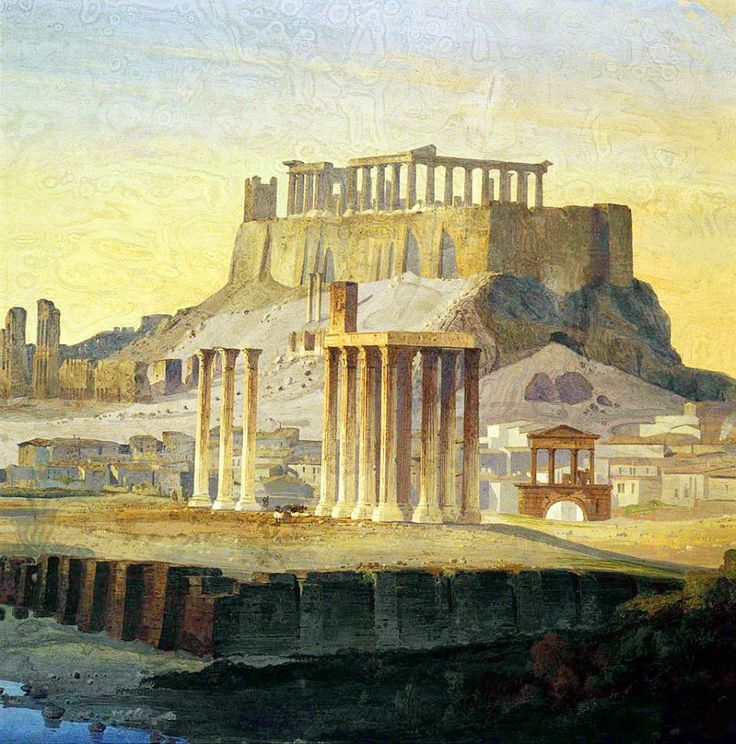 Ippolito Caffi, 1847, άποψη Στύλων Ολυμπίου Διός.