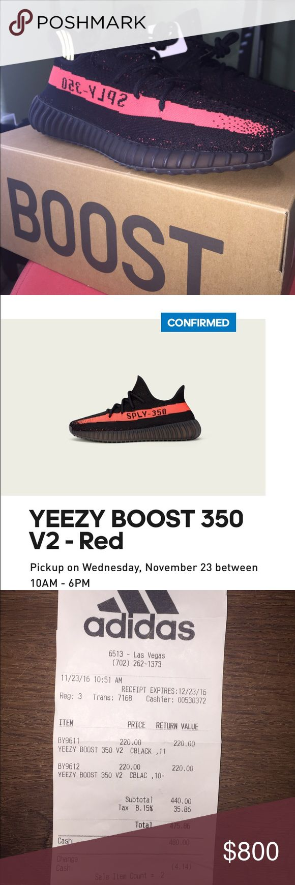 Adidas Yeezy Boost 350 V2 I have a brand new, store bought pair of Red Yeezy 350. These are the most recent pair, and I got them from reserving on the adidas Confirmed app. I got them November 23, 2016 on release day for their retail price of $220. I have original receipt and box/tags. Everything is brand new. If you having any questions please let me know. The shoes are size 10 1/2 and are the RED colorway. Adidas Shoes Athletic Shoes