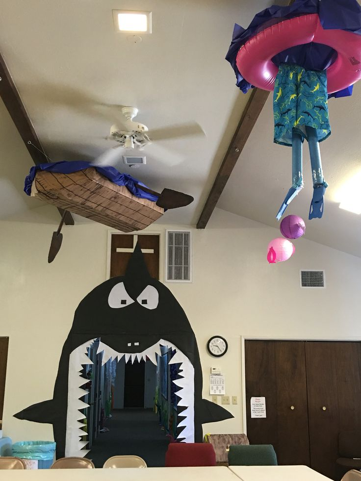 VBS Vacation Bible School Submerged ocean dive deep decorations - shark doorway, man overboard with tube and flippers, boat and oars