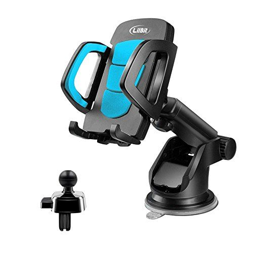 From 8.66 Lilbit Car Phone Mount 2 In 1 Universal Air Vent Holder And Long Arm Windshield Mobile Phone Cradle With Suction Cup For 3.5-6.5 Inch Iphone Smartphone Gps Black And Blue