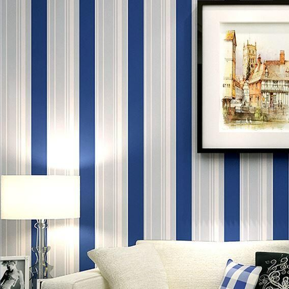 Modern grey white blue stripes wallpaper roll classic wall for Grey striped wallpaper living room