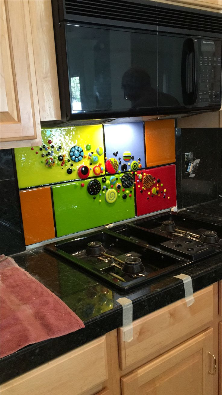 Fused glass backsplash.