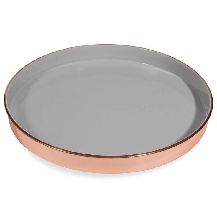Copper-coloured metal tray D 31 cm