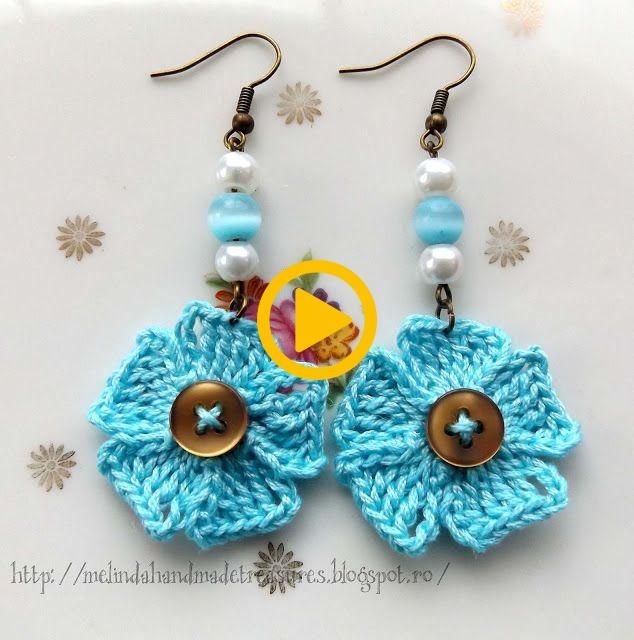 Melindas Schätze: Kostenlose Häkelanleitung – Ohrringe mit kleinen blauen Blumen.   – Jewerly Craft