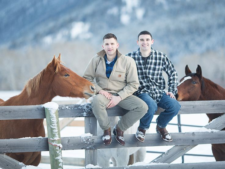 This happy gay couple share intimate winter scenes in Montana