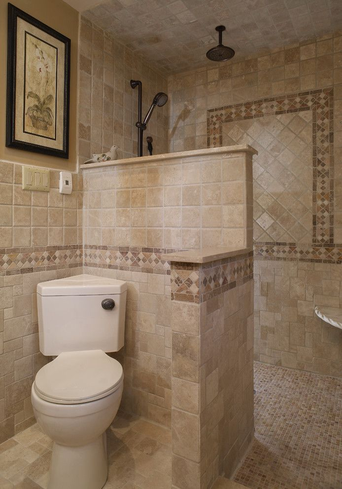 mediterranean bathroom with walk in showers without door with mosaic tiles, brown tiles wall matched with toilet area of Walk in Shower without Door for More Air and Light