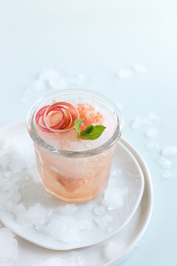 Rhubarb Mint Julep - Mint, Rhubarb Syrup (Recipe), Bourbon, Crushed Ice.