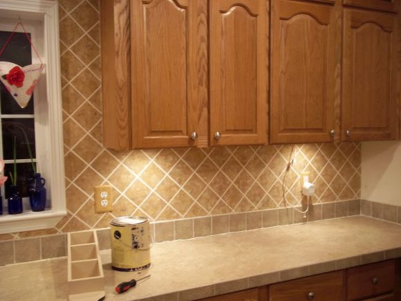 faux tile backsplash cottage pinterest