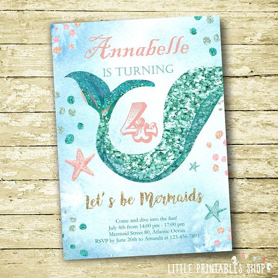 Mermaid party ideas: Mermaid Invitations by Little Printables Shop