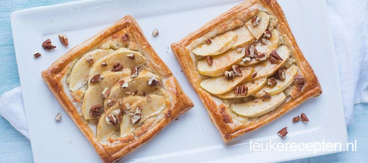 Super makkelijk maar lekker gebakje van knapperig bladerdeeg met appel en spijs