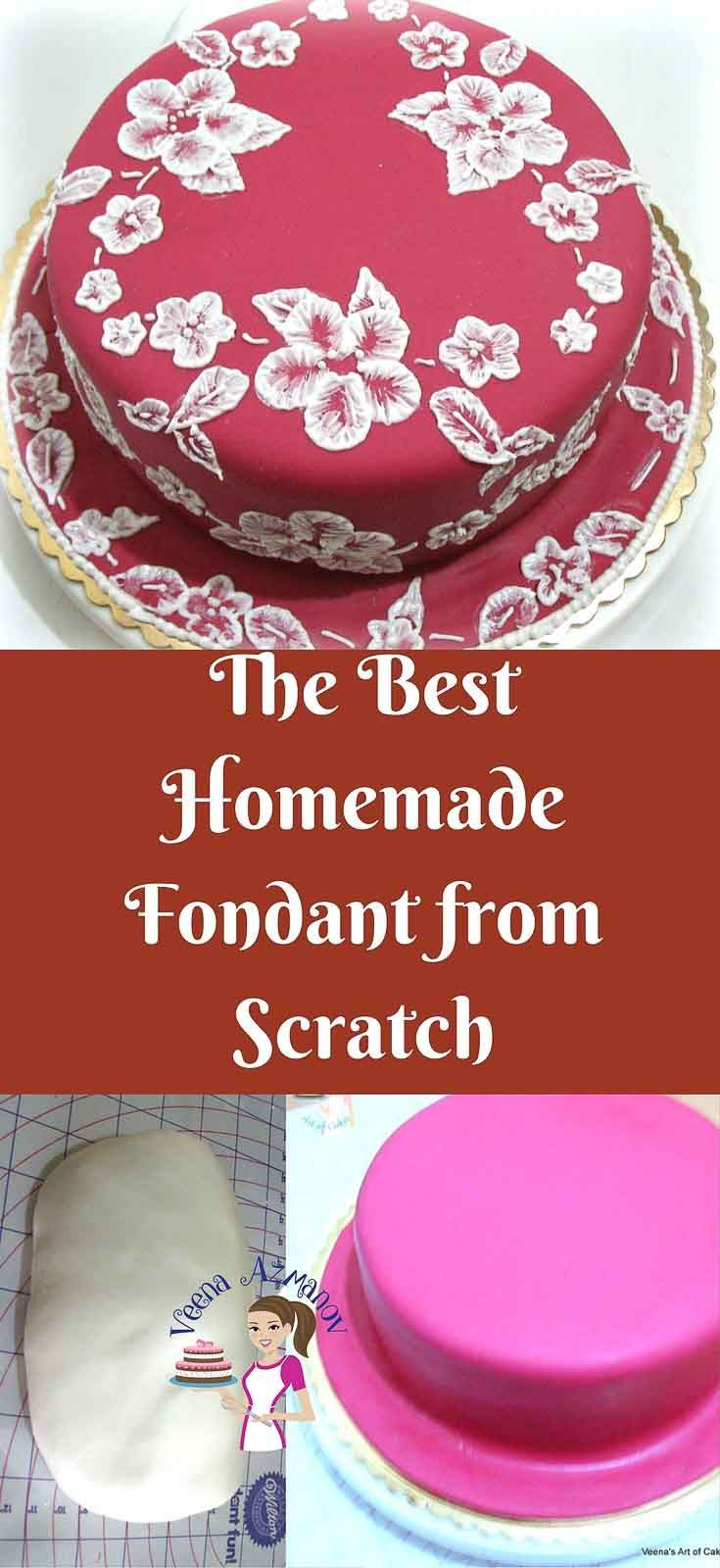 If you looking for the best homemade fondant recipe, this is it! Soft, elastic, works great in humid conditions. Unlike store bought this taste delicious, and If you look at the ingredients you will know why. via @Veenaazmanov